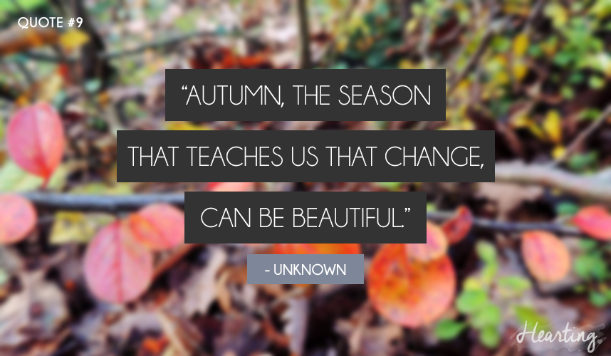 "Quoting #9 | ""Autumn, the season that teaches us that change, can be beautiful."""