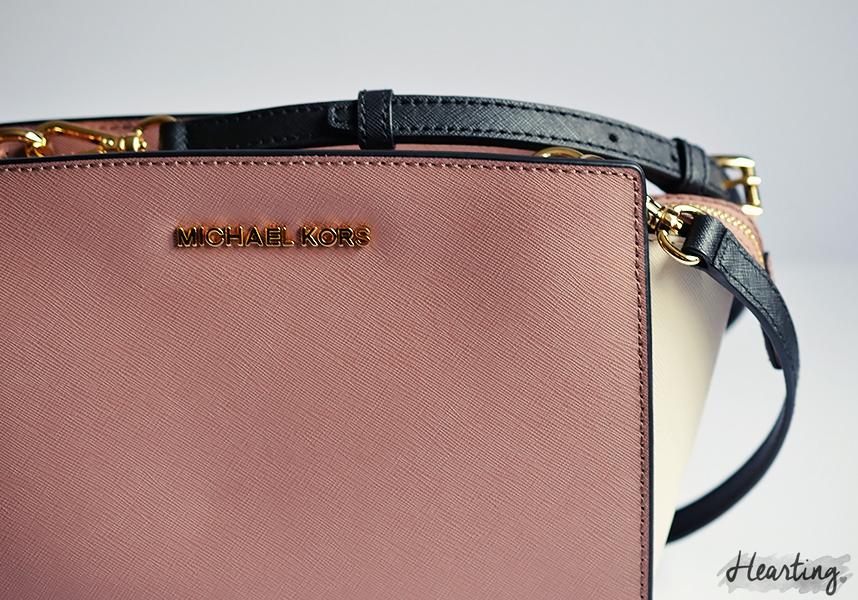 My First Michael Kors handbag | MICHAEL Michael Kors SELMA across body bag in dusty rose, ecru and black