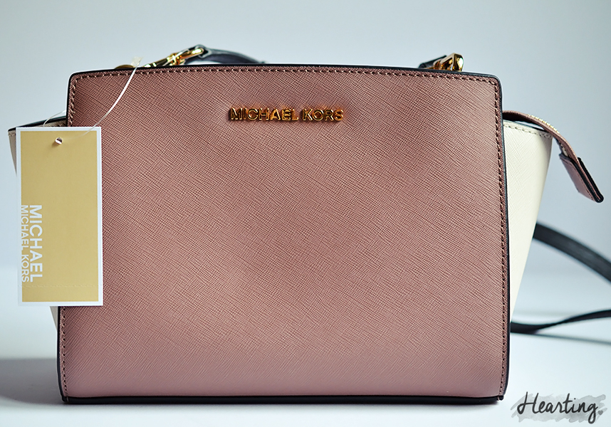 My First Michael Kors handbag | MICHAEL Michael Kors SELMA across body bag in dusty rose, ecru and black