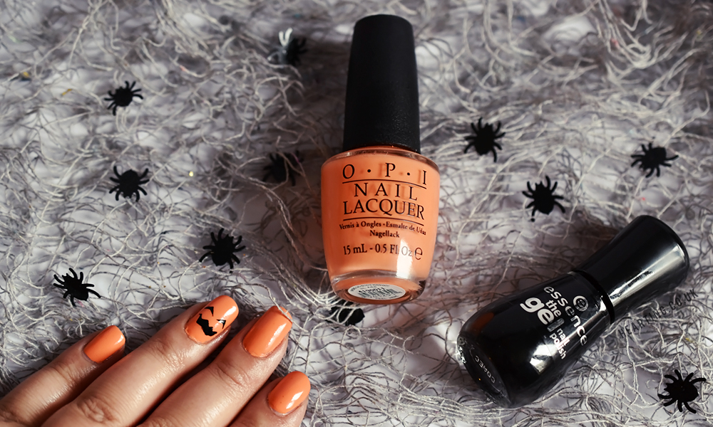 Nails #82 | OPI Where Did Suzi's Man-Go? and Essence Black Is Back for a Halloween pumpkin design