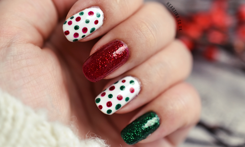 Nails #83 featuring Angelica Snow White, Zoya Elphie and Zoya Chyna | Christmas polka dot and glitter nails