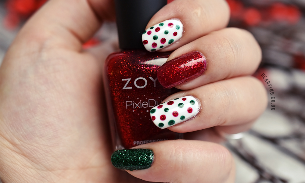 Nails #83 featuring Angelica Snow White, Zoya Elphie and Zoya Chyna   Christmas polka dot and glitter nails