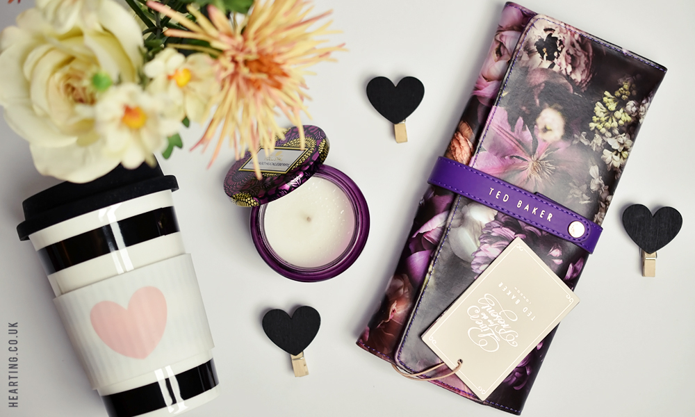 Mother's Day gift ideas with Amara including a Ted Baker Jewellery Case, Voluspa Santiago Huckleberry Candle and Miss Étoile Ceramic Travel Mug