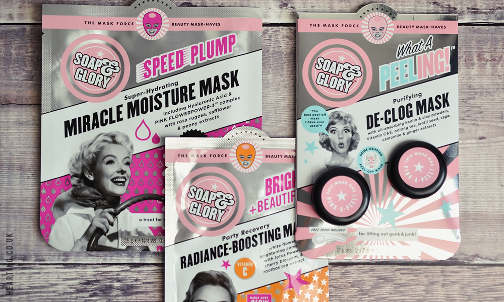 Little Treats #7   Soap & Glory Bright and Beautiful Radiance-Boosting Mask, Soap & Glory Speed Plump Miracle Moisture Mask and Soap & Glory What a Peeling! De-Clog Mask