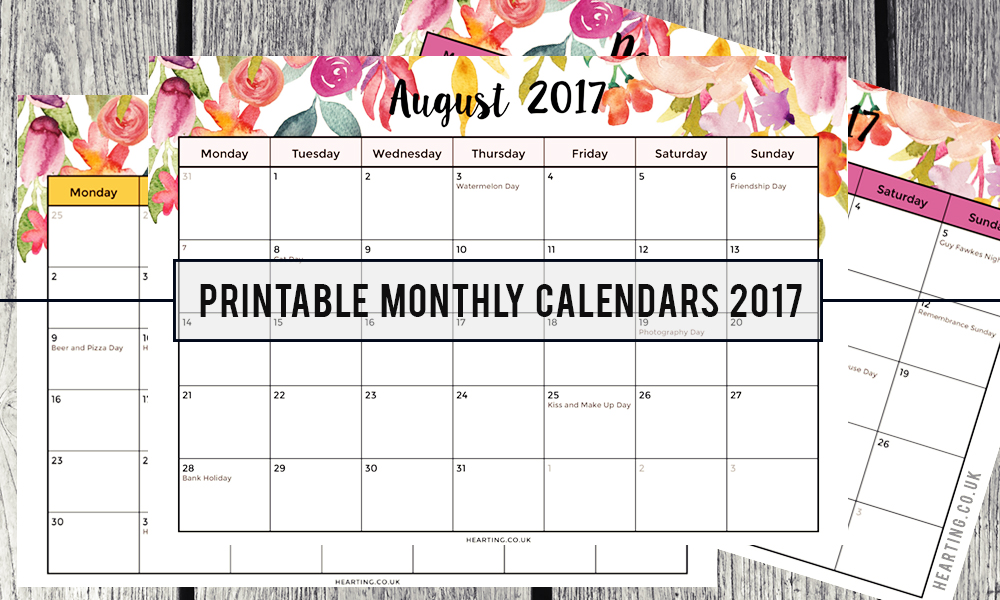 FREE Printable Monthly Calendars 2017 | August 2017, September 2017, October 2017, November 2017 and December 2017
